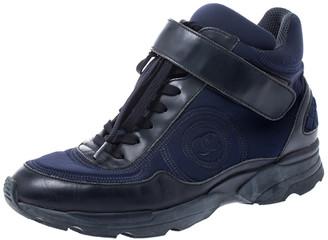 Chanel Blue Nylon And Black Leather CC Logo Lace Up Sneakers Size 36.5