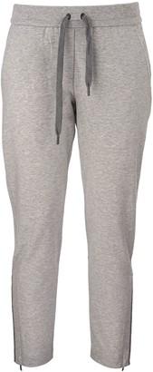 Brunello Cucinelli Lightweight Stretch Cotton Sweatpants With Shiny Zipper Cuffs Light Grey