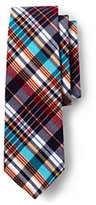 Lands' End Men's Long Cotton Madras Necktie-White/Teal Madras