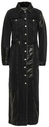 McQ Faux Leather-paneled Denim Coat
