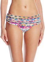 Jessica Simpson Women's Totem Shirred Skirted Bikini Bottom