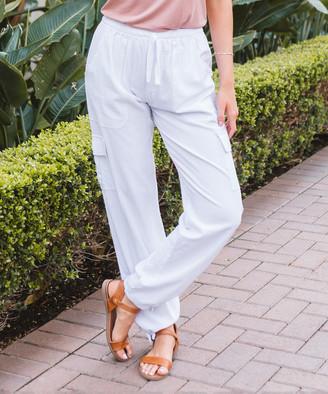 Amaryllis Women's Casual Pants White - White Cargo-Pocket Harem Pants - Women
