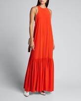 Tibi Heavy Crepe De Chine Long Halter Dress