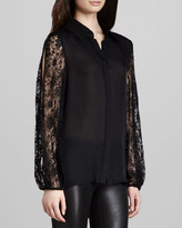 Alice + Olivia Serena Lace-Trimmed Blouse