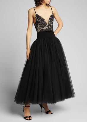 Monique Lhuillier Embroidered Lace Bodice Cocktail Dress