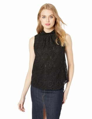 Rebecca Taylor Women's Sleeveless Mock Neck Lace Top