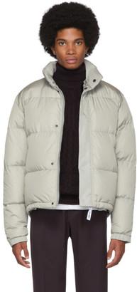 Yves Salomon Army Grey Down Sheared Rabbit Nylon Jacket