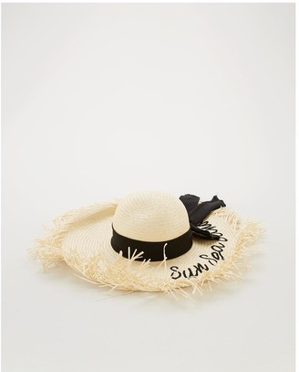 Very Bow Trim Floppy Straw Hat - Natural