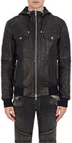 Balmain Men's Leather Hooded Jacket-BLACK