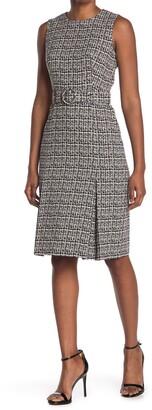 Calvin Klein Tweed Belted Sheath Dress