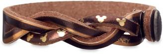Disney Mickey Mouse Icon Braided Metallic Leather Bracelet Personalizable