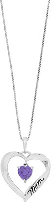 """Timeless Sterling Silver Cubic Zirconia """"Mom I Love You"""" Heart Pendant Necklace"""