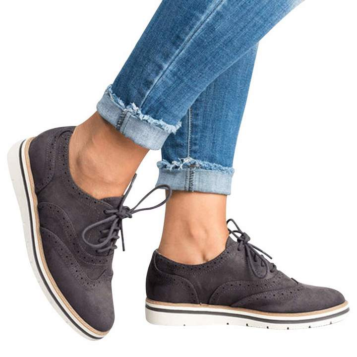 26bd6b588aaa7 DongDong Seasonal Offers✿ Women's Casual Solid Flat Suede Sneakers- Round  Lace Up Ankle Boots Sport Shoes