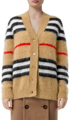 Burberry ICON STRIPED MOHAIR BLEND KNIT CARDIGAN