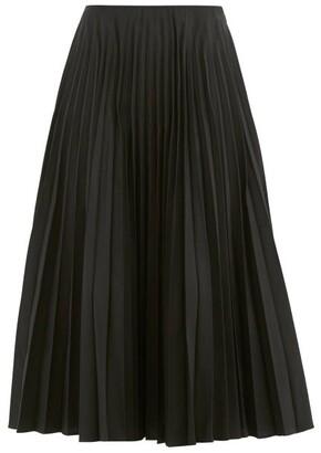 Valentino Pleated Cotton-blend Faille Midi Skirt - Black