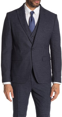 Moss Bros Medium Blue Check One Button Peak Lapel Skinny Fit Suit Separates Jacket