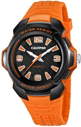 Calypso Unisex Quartz Watch with Black Dial Analogue Display and Orange Plastic Strap K5635/2