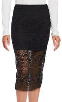 Bardot Lace Overlay Pencil Skirt