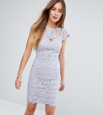 Paper Dolls Tall Mini Lace Dress with Scalloped Back-Grey