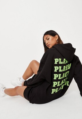 Missguided Playboy X Black Oversized Graphic Hoodie Dress