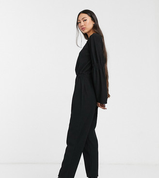 Another Reason relaxed jumpsuit with open back and ruched detail
