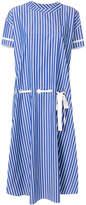 Sacai striped lace-waist shirt dress