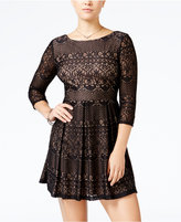 B. Darlin Juniors' Lace Fit & Flare Dress