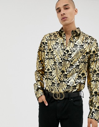 Twisted Tailor skinny velvet shirt with gold baroque print-Black