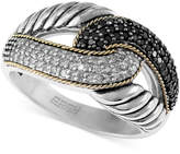 Effy Balissima by Black and White Diamond Ring (1/3 ct. t.w) in Sterling Silver and 18k Gold
