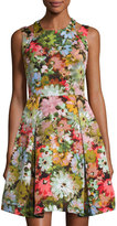 Neiman Marcus Floral-Print Fit-and-Flare Dress, Coral