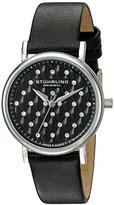 Stuhrling Original Women's Quartz Watch with Black Dial Analogue Display and Black Leather Strap 799.01