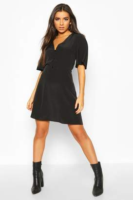 boohoo Woven Button Thru Flatter Sleeve Skater Dress
