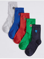 Marks and Spencer 5 Pairs of FreshfeetTM Embroidered Socks (1-14 Years)
