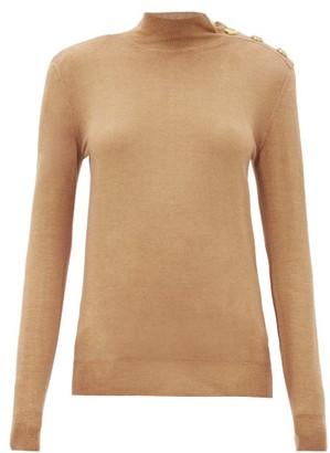 Balmain Buttoned-shoulder Wool-blend Sweater - Beige