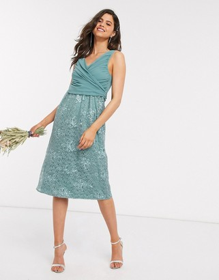 Little Mistress embroidered midi dress