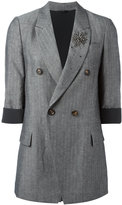 Brunello Cucinelli double-breasted blazer - women - Silk/Cotton/Linen/Flax/Crystal - 46