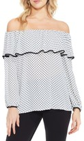 Vince Camuto Petite Women's Droplet Geo Ruffled Off The Shoulder Top