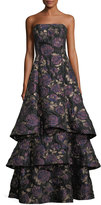 Aidan Mattox Floral Metallic Brocade Tiered-Skirt Evening Gown