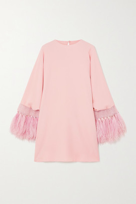 Valentino Feather-trimmed Embellished Crepe Mini Dress - Pink