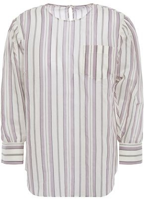 Brunello Cucinelli Bead-embellished Striped Cotton And Silk-blend Mousseline Blouse