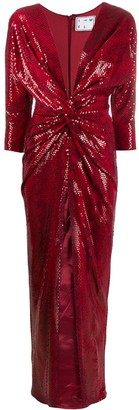 In The Mood For Love Oscar knotted sequin-embellished gown