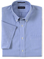 Classic Men's Tall No Iron Traditional Fit Supima Pinpoint Dress Shirt-Clear Blue/White Stripe