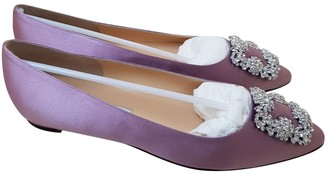 Manolo Blahnik Hangisi Purple Cloth Ballet flats