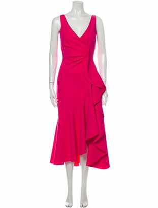 Chiara Boni Plunge Neckline Midi Length Dress Pink