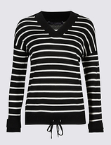 M&S Collection Pure Wool Drawstring Striped V-Neck Jumper