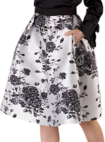 Closet Floral Pleated Skirt, Black/White