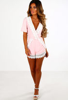 Pink Boutique Heaven Sent Pink Crochet Wrap Playsuit