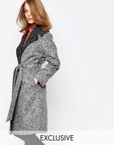 Helene Berman Brushed Gray Contrast Oversized Collar Coat