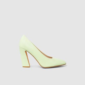 Maryam Nassir Zadeh Green Vida Leather High Heel Pumps Size IT 40
