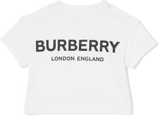 BURBERRY KIDS Logo Print Cotton T-shirt